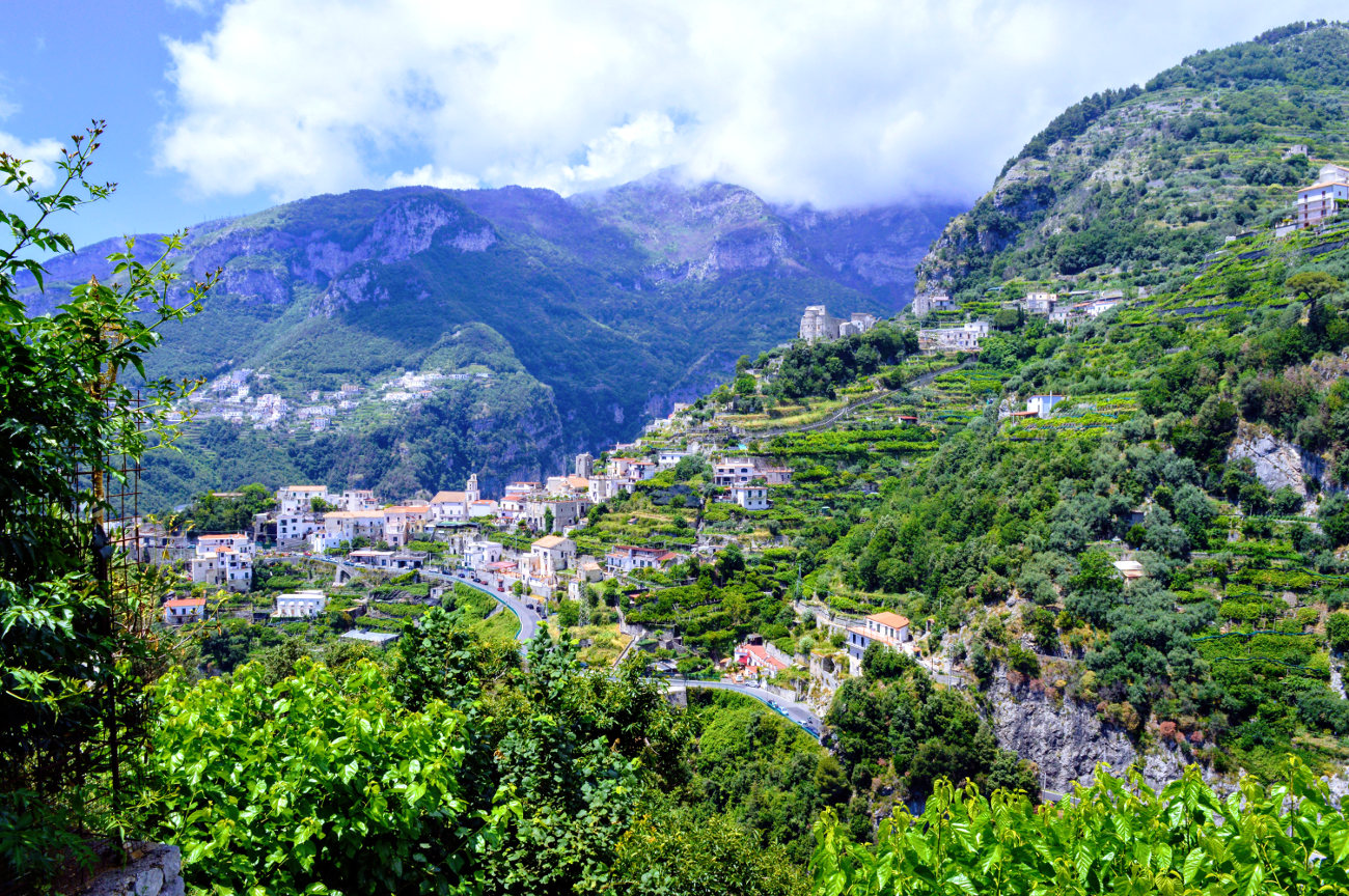 View of Pontone with the Basilica Sant'Eustachio to be seen above the town and just below the mountain top.