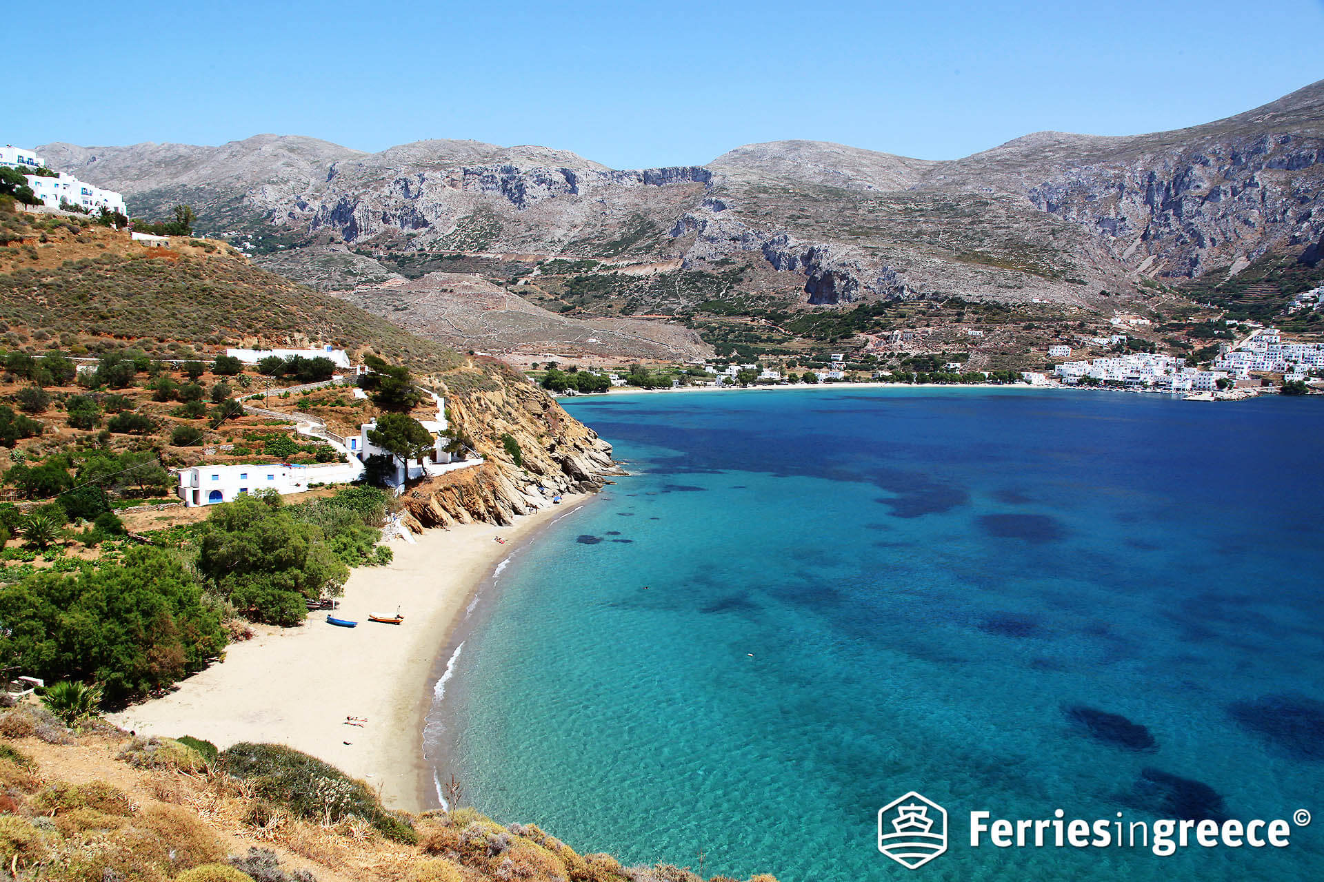 Aegiali Beach, Amorgos. Courtesy of Ferries In Greece.