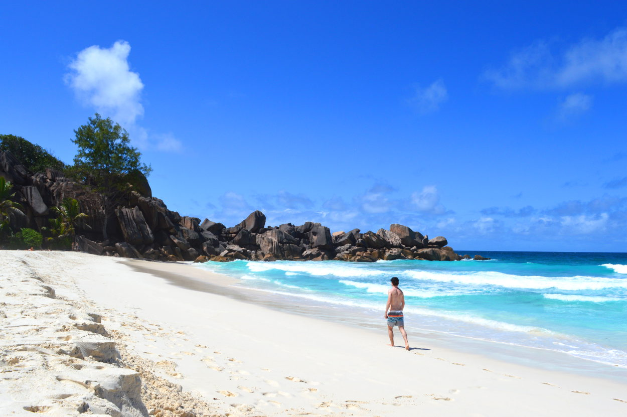 Sandy beach on La Digue