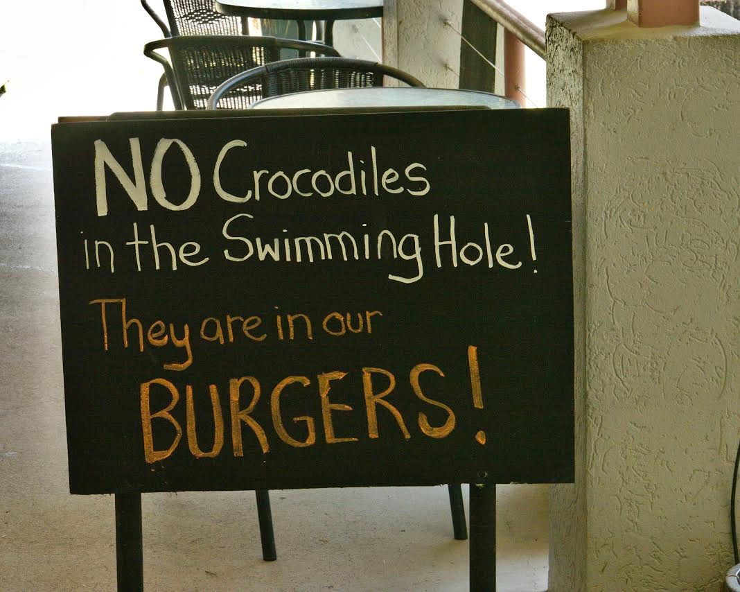 Crocodile Burgers Sign