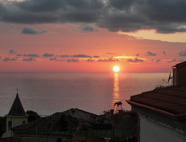 Sunset off the Calabrian Coast