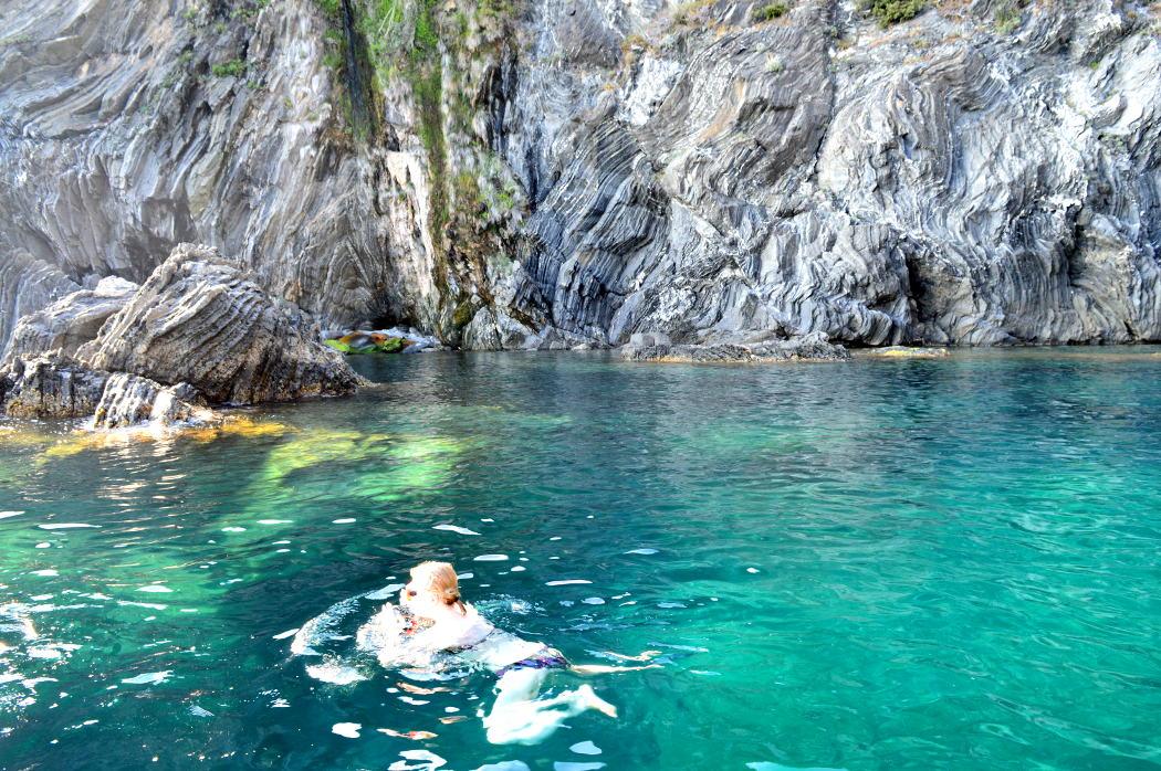Swimming in the Cinque Terre sea