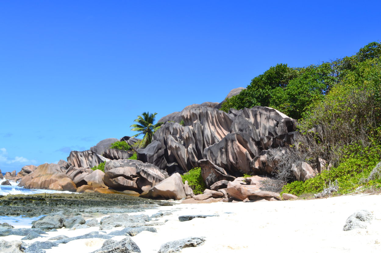 Granite rocks at the end of Grand Anse